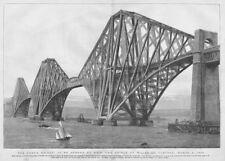 Forth Rail Bridge ouverte par le Prince de Galles-Antique print 1890