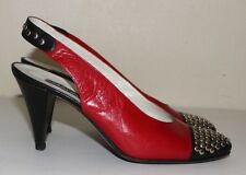 MAUD FRIZON vintage black and red studded ankle strap shoes 37.5