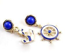 Betsey Johnson Gold Blue White Enamel Anchor Rudder Wheel Stud Dangle Earrings