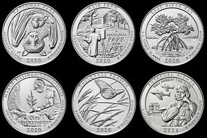 """2020/2021 Receive All 6 National Parks ATB """"Brilliant Uncirculated"""" Quarters"""