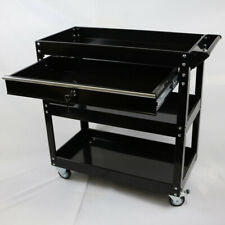3-Tier Steel Tool Cart With Lock Drawer & Lockable Castors Mechanic Trolley