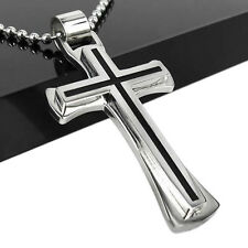 Men Dedicated Super Black Silver Stainless Steel Cross Pendant Chain Necklace