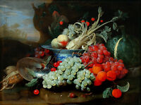 """oil painting handpainted on canvas """"Fruit still life with Nautilus shell""""@NO4824"""
