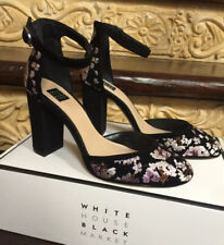 $140.00 White House Black Market Size 8 Embroidered Suede Chunky Heels