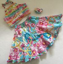 EUC Beetlejuice Girl 3 PC Set Blue Floral Top Shirt Ruffled Skirt Barrette Sz 6