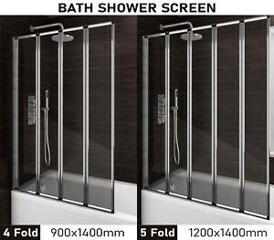 Bath Shower Screen Folding Over Bath Shower Screen 2 4 5 Fold Glass Door 1400mm