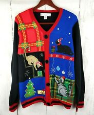 Jolly Sweater Ugly Christmas Sweater Large Embroidered Cats Buttons V Neck