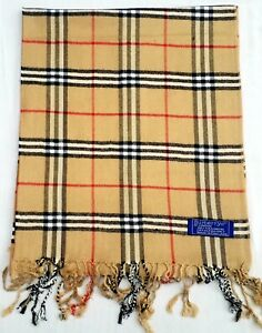 Men's Burberry Being Camel Brown Kashmere Scarf, Stole made in England
