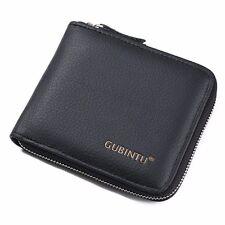 Men's Cowhide Leather Zipper Wallet Bifold Purse Coin Pocket Card Holder Clutch