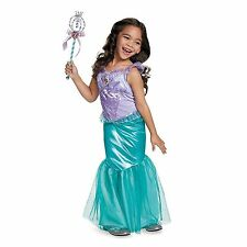 Girls Disney Classic ARIEL LITTLE MERMAID Deluxe Halloween Costume & Wand Medium