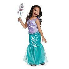 Girls Disney Classic ARIEL LITTLE MERMAID Deluxe Halloween Costume & Wand XS