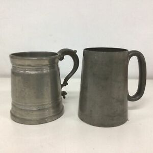 Vintage. Two Pewter Glass Bottom Tankards-One made by Gulf & Kay, England #323