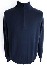 $1425 LORO PIANA Navy Mezzocollo 100% Baby Cashmere 1/2 Zip Sweater 52 EU Large
