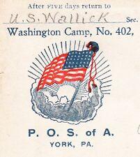 Patriotic Order Sons of America Flag Washington Camp York PA 1904 Flag Cover 6x