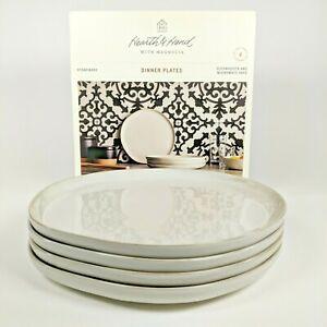 "Hearth and Hand Magnolia - 10"" Cream/White Stoneware Dinner Plates - Set of 4"