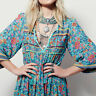Maxi Carnival Mexican Dress Gypsy Boho Sleeve Mid-calf Floral Beach Long 3/4