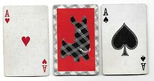 1960s Playing Cards ~ Plaid SCOTTIE DOG on a Red Background ~ ARF!