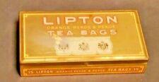 *VINTAGE BEAUTY* Antique Lipton Orange Pekoe & Pekoe Tea Bags Metal Gold Tin Box