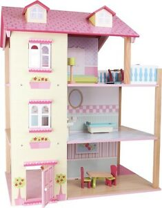 Puppenhaus ca. 59 x 39 x 70 cm drehbar mit Zubehör Holz Spielhaus  Puppenstube