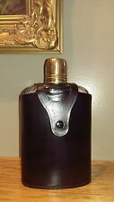 Vintage Leather Bound Liquor Flask - Glass Bottle, Decanter Case - From England