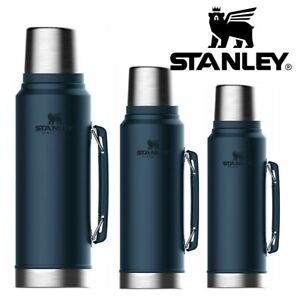CLASSIC STANLEY FLASK VACUUM BOTTLE DRINKS HOT & COLD HIKING THERMOS NEW BLUE