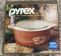 VTG PYREX 1.5 Qt Round Casserole Dish, 484-49 Autumn Harvest Wheat, Rust Red