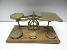 Antique Old Wood Metal Brass England Guaranteed Accurate Postal Merchants Scale