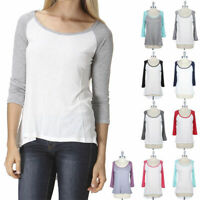 Raglan 3/4 Sleeve High Low Hem Wide Neck Top Relaxed Fit Casual Comfy Easy Wear