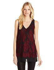 Karen Kane 6189 Size Medium M Burgundy Black Lace Tank Top Overlay