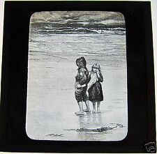 NICE Glass Magic Lantern Slide BOY AND GIRL BY THE SEA C1910 CHILDREN