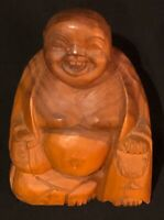 """Vintage Norleans Wooden Laughing Buddha, Hand Carved, 7.5"""", Made In Thailand"""