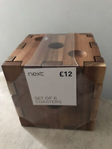 Set Of 6 NEXT Wooden Dice Puzzle Coasters Kitchen Dining