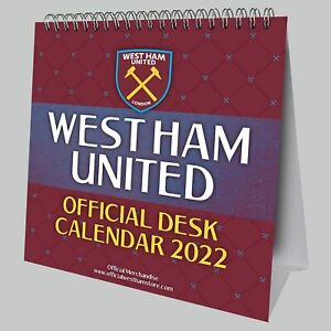 West Ham United Football Club Desk Easel 2022 Calendar Page-a-Month Tent WHUFC