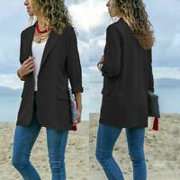 Women Blazer Casual Business Work Suit Jacket Long Sleeve Coat Outwear Plus Size