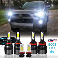 LED Headlight + Fog Light Bulbs For Toyota 4Runner 2010 2011 2012 2013 2014-2020