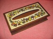 VINTAGE KLEENEX HOLDER-70'S POP ART FLOWERED TOP-BROWN PLASTIC FAUX WOOD LOOK