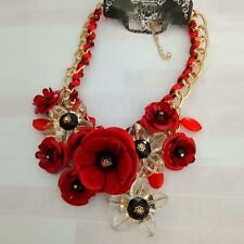 Red Crystal Multicolor Flower Women Statement Bib Collar Necklace Pendants  /U