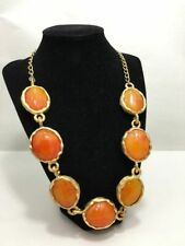VINTAGE Kenneth Lane Orange Lucite Cabochon Necklace RETRO MOD STATEMENT Piece