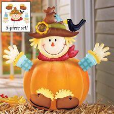 5 Pc. Scarecrow Halloween Pumpkin Poke-In Set Decoration