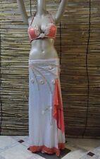 Egyptian Belly Dance Costume bra & Skirt Professional Dancing Oringe Silver