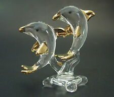 Glass DOLPHIN Ornament 2 Clear Glass & Gold Painted Dolphins Animal Curio Figure