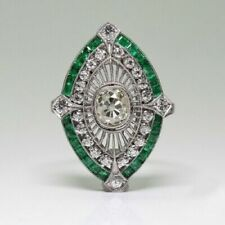 White Cz Floral Beautiful Engagement Ring Fabulous 925 Sterling Silver Emerald &