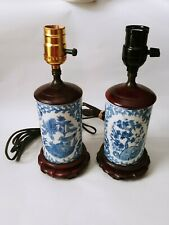 New listing Vintage 2 Hand Painted Chinese Porcelain Vase Table Lamps Blue