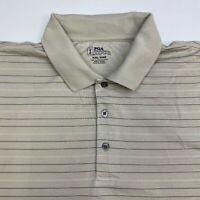 PGA Tour Golf Polo Shirt Men's 2XL XXL Short Sleeve Tan Striped Casual Polyester