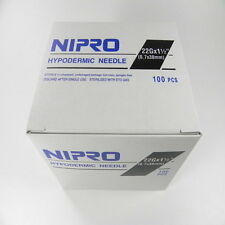 "Nipro 22G x 1 1/2 "" Hypodermic Needle(0.7x38mm) Sterile Single Needle 100 /Box"