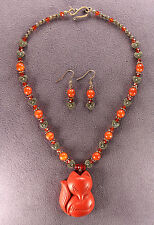 Foxy Lady Red Fox Totem Necklace Earrings Set Pendant Charm Talisman Foxes Heart