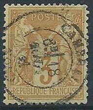 1877-80 FRANCIA USATO SAGE 3 CENT II TIPO BISTRO GIALLO - EDF004