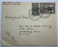 1950 GOLFITO COSTA RICA COVER TO WATERBURY CONNECTICUT, SENT TO WRONG MAIL BOX