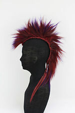 Red & Purple Mohawk Clip on Hair Piece, Mens Wig, Unisex, Human Hair.