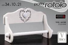 PORTA ROTOLO CUCINA IN LEGNO BIANCO VINCY 30*10*21 CM DECORO ROSE TOD-662300